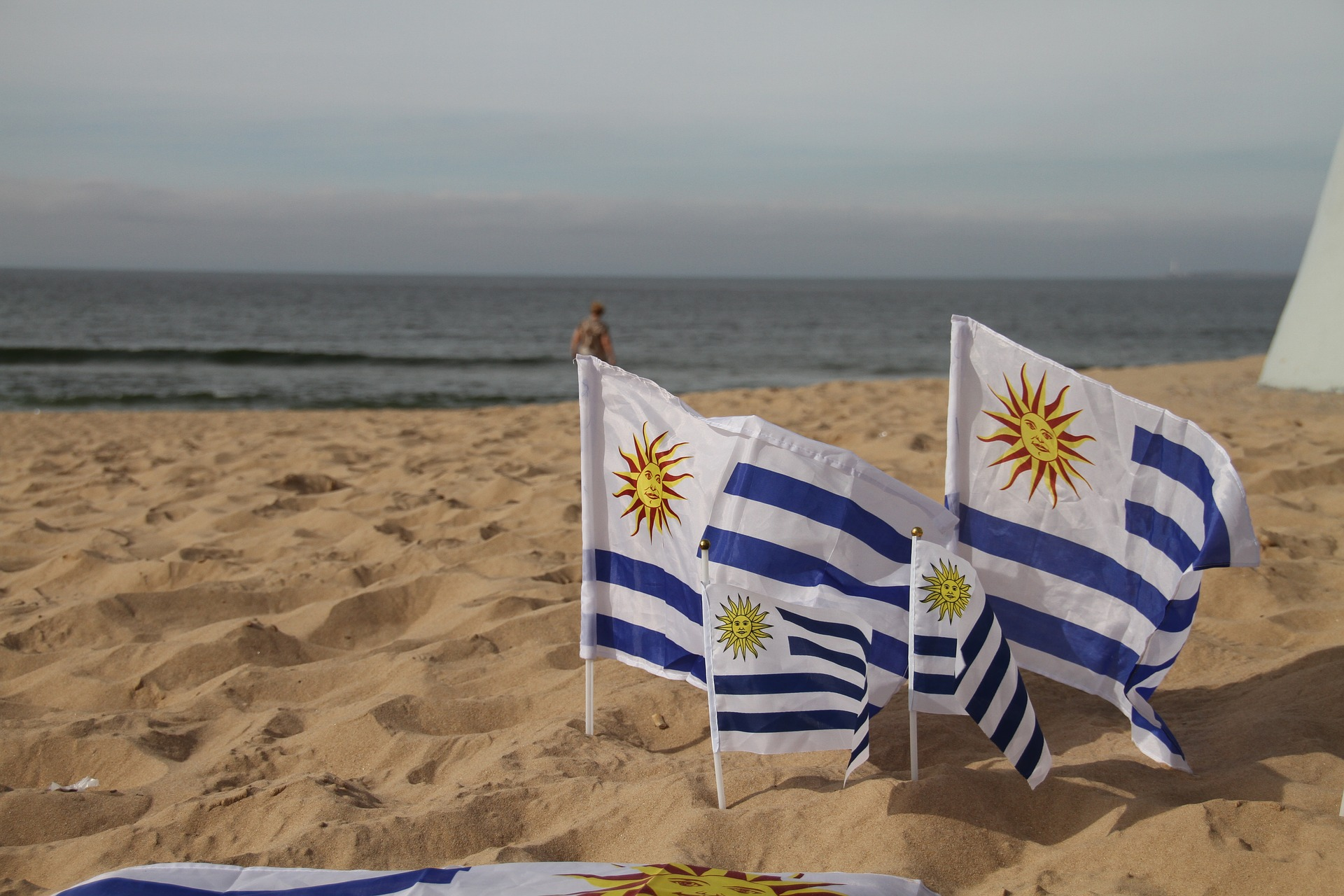 Uruguay Flag on Beach